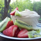 Fruit Dip VI - A delicious creamy brown sugar dip for fruit plates. Sprinkle with chopped nuts for an extra crunch.