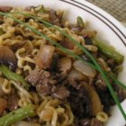 Gel's Green Beans and Beef - Seasoned lean ground beef is browned with ginger and garlic, and cooked with green beans.