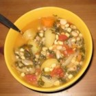 White Bean Soup - A delicious white bean and corn soup, seasoned with garlic, savory, and thyme. Tastes even better the next day, and can easily be made vegetarian!
