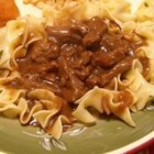 Beef Tips - Browned stew meat and onions simmered in soy sauce and Worcestershire sauce; seasoned with garlic powder. Great served over rice or egg noodles.
