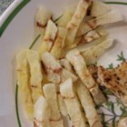 Jicama Zebra Fries - Jicama pieces are cooked in the microwave for quick and easy fries.