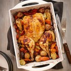 Spice Rubbed Flattened Roast Chicken - This Moroccan-inspired roast chicken will become your new favourite Sunday night dinner. Making the whole meal in a roasting pan means you can just pop it in the oven and forget about it!
