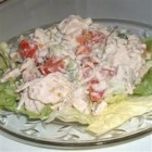 Chicken Salad with Bacon, Lettuce and Tomato - This chicken salad has a creamy dressing and is best served over crisp lettuce leaves.