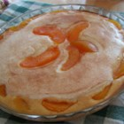 Peaches 'N Cream Pie - The cinnamon and sugar sprinkled on the top melt down into the cream cheese and peach syrup, that melts into the yummy peaches that melts into the thick, buttery vanilla pudding layer on the bottom of the pie.