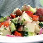 Mediterranean Potato Salad - This salad begins with red potatoes, which is a very good sign, and ends being tossed in a really nice dressing spiked with lemon juice. A pleasant taste change from the same old, same old potato salad.