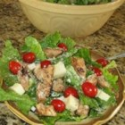 Teriyaki Chicken Salad - Chicken breasts marinate overnight in orange juice, soy sauce, and lemon/lime carbonated soda. These are then grilled, cut into strips and mixed with lettuce, tomatoes, and mozzarella, and a tasty garlic infused lemon and oil dressing.