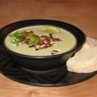 Avocado and Bacon Soup - Wonderful way to blend the tastes of avocado and bacon in a warm, hearty soup. Besides the bacon bits, this soup works with a dollop of sour cream and some lime zest. Eat with plenty of crusty bread.