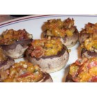 Bacon and Cheddar Stuffed Mushrooms - Crimini mushrooms are stuffed with Cheddar cheese and bacon. This appetizer is an impressive and irresistible accompaniment to any meal.