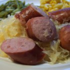 Slow Cooker Kielbasa and Beer - Kielbasa sausage slow cooked with beer and sauerkraut.