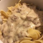 Quick and Easy Hamburger Stroganoff - Use canned cream of chicken soup and cream of mushroom soup to make a quick and easy stroganoff dish of ground beef and egg noodles.