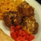 Enchilada Meatballs - These are a tasty change from the usual since they use cornbread crumbs instead of  crackers or regular bread.  They're always a hit at parties!  A friend shared this recipe with me ages ago and I've tweaked it to come up with this.
