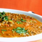 Deception Pass Curried Lentil Soup - Lentils are nicely spiced with curry paste and onion and have a finishing touch of spaghetti sauce for a warmly smooth soup.