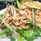 Thai Noodle Salad - Udon noodles are cooked and combined with cucumbers, sprouts, green onions, carrot and lots of freshly chopped mint. Then everything is tossed with a spicy ginger/peanut sauce and garnished with roasted peanuts. Makes six generous servings.