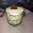 Outrageous Lemon Berry Trifle - Creamy lemon pudding adds a refreshing zing to this simple trifle of strawberries, blueberries, and angel food cake.