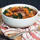Smokey Sausage, Kale & Sweet Potato Soup - This soup is so versatile that it works with whatever you have on hand. Use cannellini, black or kidney beans if you prefer them to chickpeas--or take them out altogether. Use spinach instead of kale. Adjust the spices if you prefer something a bit tamer.