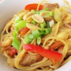 Thai Chicken Spaghetti - Chicken and vegetables are tossed with spaghetti in a soy sauce-based sauce creating an Asian-inspired meal.