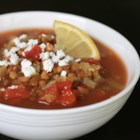 Jorge's Indian-Spiced Tomato Lentil Soup - Tomato lentil soup seasoned with Indian spices is a warm and comforting meal that pairs nicely with a grilled cheese sandwich.