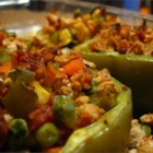 Stuffed Peppers with Turkey and Vegetables - Turkey and a variety of vegetables make a great filling for stuffed green bell peppers.