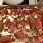 Baked Bacon Jalapeno Wraps - Jalapenos are stuffed with cream cheese, wrapped with bacon, baked, and then finished on the grill.