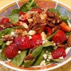 Strawberry Blue Cheese Salad - Fresh greens are tossed with strawberries, toasted pecans, and blue cheese. A lively dressing unites all the flavors into a springtime delight!