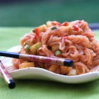 Low-Calorie Spicy Peanut Noodles - Shirataki noodles are tossed in a homemade peanut sauce for a lower calorie meal with an extra kick thanks to sriracha added to the sauce.