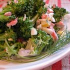 Minnesota Broccoli Salad - No bacon, no fruit, no seeds: this broccoli salad, adapted from a recipe in a newspaper clipping from 1980, combines potato salad flavors--hard-cooked eggs, dill, celery seed, mayo--with crisp fresh broccoli.