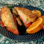 Smoked Salmon French Toast Sandwich - Smoked salmon and cream cheese top decadent, egg soaked French bread to make this recipe for smoked salmon French toast sandwich.