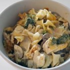 Kristi's Tetrazzini - Tender morsels of poached chicken are baked in a noodle casserole with a delectable blend of cream of chicken soup, mushrooms, broccoli, celery and onion. Shredded Cheddar and mozzarella cheese are sprinkled over the top before baking.