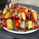 Sensational Sirloin Kabobs - After a wild night marinating in a slightly sweet soy sauce and lemon-lime mixture, sirloin steak chunks are skewered with veggies and grilled. You'll want to make these again and again!