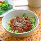 Zucchini Spaghetti - Zoodles, also known as zucchini noodles, replace regular pasta in this tomato sauce-based dish for a quick vegetarian, grain-free, and gluten-free meal.