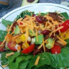 Taco Salad with Lime Vinegar Dressing - Lean ground beef, romaine lettuce, avocado, and plenty of vegetables are served with a fresh lime dressing in this healthy taco salad recipe.