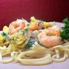 Shrimp and Artichoke Linguine - For a fresh and delicious dish, combine sauteed shrimp with onion and garlic and a tangy mixture of artichoke hearts, lemon juice, lemon peel and white wine. Simmer briefly and toss with parsley and cooked linguini.