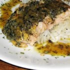 Baked Salmon I - Baked salmon with herbs, orange juice, and brown rice. Great served with steamed broccoli and carrots.