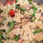 Pretty Crawfish Pasta - This works well for a quick supper or light lunch with the ladies. A blend of pasta, herbed dressing, crawfish and veggies.