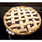 Elderberry Pie II - This pie is pure elderberry with sugar, a hint of lemon juice, and cornstarch stirred in. The top crust is latticed so when you take it from the oven, you can see the beautiful berries and bubbly sauce glisten through it.