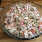 Mel's Crab Salad - Imitation crabmeat stars in this simple salad made with just a few ingredients, such as celery, mayonnaise, and light ranch dressing. Chill it overnight to get the full flavor.