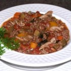 Eggplant Supper Soup - Hearty eggplant soup made with ground beef and vegetables.