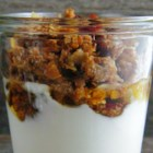 Yogurt and Granola - Just a quick mixture of plain fat-free yogurt, flaxseed meal, granola, agave syrup, and cinnamon makes a healthy way to start the day.
