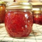 Jalapeno Strawberry Jam - This is a favorite in our family at Christmas. The flavor of the sweet strawberries combined with the flavor of the peppers gives this jam a wonderful flavor dimension. This jam is not spicy, but can be made to be spicy by adding more peppers or a few habanero peppers.