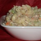 Cold Tuna Macaroni Salad - The ingredients are classic  - tuna, macaroni, mayonnaise, celery and tomatoes. But we never seem to get tired of this good old comfort food. Great for a summer meal. Dress up with slices of avocado, sunflower seeds and some cubes of feta.