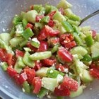 Summer Pepper Salad - This is a great salad for the summer heat. It is light and very quick to make. And even my kids like it. Serve with French bread for a great combination.