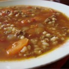 Hearty Hamburger Soup - This thick and hearty hamburger soup is loaded with vegetables and barley.