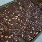 Chewy Chocolate Peanut Bars - A chewy almost candy-like treat with peanut butter, oats, chocolate and peanuts.