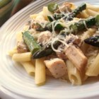 Penne with Chicken and Asparagus - A light but super-tasty pasta dish, with fresh asparagus cooked in broth with sauteed garlic and seasoned chicken.