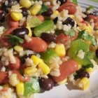Mexican Bean and Rice Salad - Brown rice gets dressed up Mexican style, with kidney and black beans, corn, peppers, lime, and cilantro in a colorful cold salad.