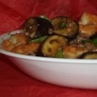 Szechuan Spicy Eggplant - Eggplant, ginger, garlic, shrimp, and beef get sauteed and spiced-up, Szechuan-style. Chicken stock and soy sauce provide the base for the thick, tasty sauce.