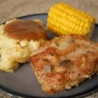 Baked Pork Chops I - Pork chops are coated with seasoned Italian crumbs and baked with an easy mushroom and wine sauce for for a nice weeknight dinner that practically takes care of itself.