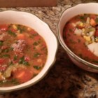 Spicy Albondigas - Meatballs with rice are simmered in a spicy broth with vegetables in a Mexican-style soup.