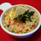 Lemon Couscous - Use lemon zest and lemon juice to make this lemon couscous with pine nuts, parsley, and pimentos.