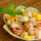 Mango Shrimp Salad  - Mango and shrimp salad with mint and lime dressing is a refreshing salad to prepare on hot summer days.